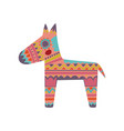 pinata colorful patterned donkey cartoon vector image