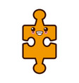 puzzle piece symbol cute kawaii cartoon vector image vector image