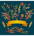 Set of floral watercolor elements Hand vector image vector image
