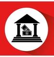 silhouette bank building bill money cash icon vector image