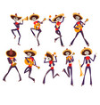 skeleton in mexican national costumes dancing and vector image