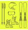 Ski gear line icon set vector image
