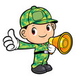 soldier character announced the news isolated on vector image vector image