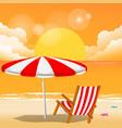 summer red beach umbrella chair sunset background vector image