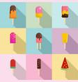 tasty sundae icons set flat style vector image