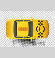 taxi car top view icon yellow taxicab sedan with vector image