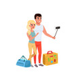 tourist couple with bags taking selfie using vector image