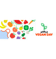 vegan day web banner of vegetable and fruit icons vector image vector image