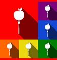 vegetarian food sign set of vector image vector image