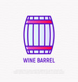 wine barrel thin line icon vector image