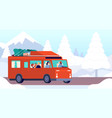 winter camp car christmas outdoor family travel vector image vector image
