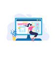 woman order online shopping computer screen app vector image vector image