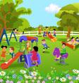 children playing in the garden vector image