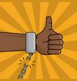 black hand thumbs up chain broken image vector image