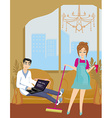 housewife cleans the room vector image