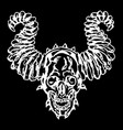 skull of a demon with horns vector image