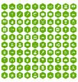 100 north america icons hexagon green vector image vector image
