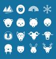 Arctic Animals Flat Icons Mono Color Set vector image vector image