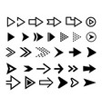 arrow icon set black arrows vector image vector image