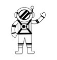 astronaut greeting cartoon isolated in black and vector image vector image