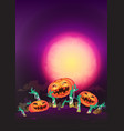 at night halloween pumpkin and zombies hands vector image
