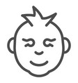 baby boy line icon kid smiling face vector image