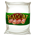 Bacon in white bag vector image vector image
