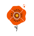 Beautiful red poppy in folk style vector image vector image