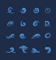 blue water waves icons set vector image vector image