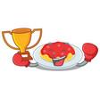 boxing winner spaghetti character cartoon style vector image vector image
