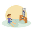 boy playing games on his big flat television vector image vector image