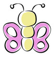 butterfly with purple wings on white background vector image vector image