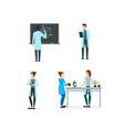 cartoon biologists chemists and physicists set vector image vector image