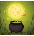 Cauldron with magical potion in a dark fores vector image vector image