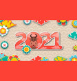 chinese new year 2021 with ox zodiac symbol vector image