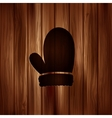 Christmas mitten icon Wooden background vector image
