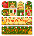 cinco de mayo mexican holiday tags vector image vector image