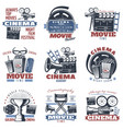 cinema emblems in color vector image
