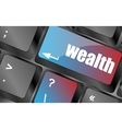 cloud icon with wealth word on computer keyboard vector image vector image