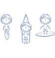 Collection of cute surfer boys vector image
