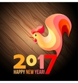 Colorful poster of a rooster isolated on black vector image vector image