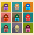 concept of flat icons with long shadow house vector image vector image