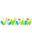 cute flowers leaves and grass in flat style vector image vector image