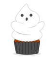 cute halloween ghost cupcake funny cartoon vector image