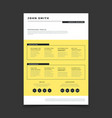 cv form template professional resume stylish vector image vector image