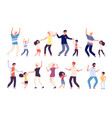 dancing parents with kids happy children dad and vector image