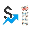 Dollar Growth Icon With 2017 Year Bonus Pictograms vector image vector image