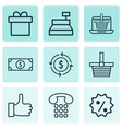e-commerce icons set with gift shopping basket vector image