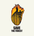 eco banner on theme forest fires save the vector image