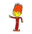 fire spirit comic cartoon vector image vector image
